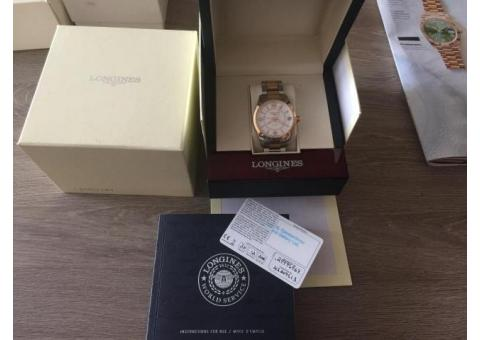 LONGINES CONQUEST CLASSIC AUTOMATIC GMT 42MM SILVER DIAL STEEL AND ROSE GOLD L2.799.5.76.7
